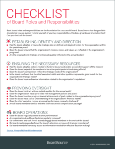 Checklist of Board Roles and Responsibilities