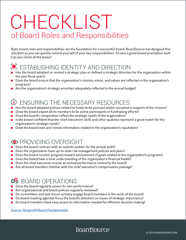 Roles And Responsibilities Boardsource