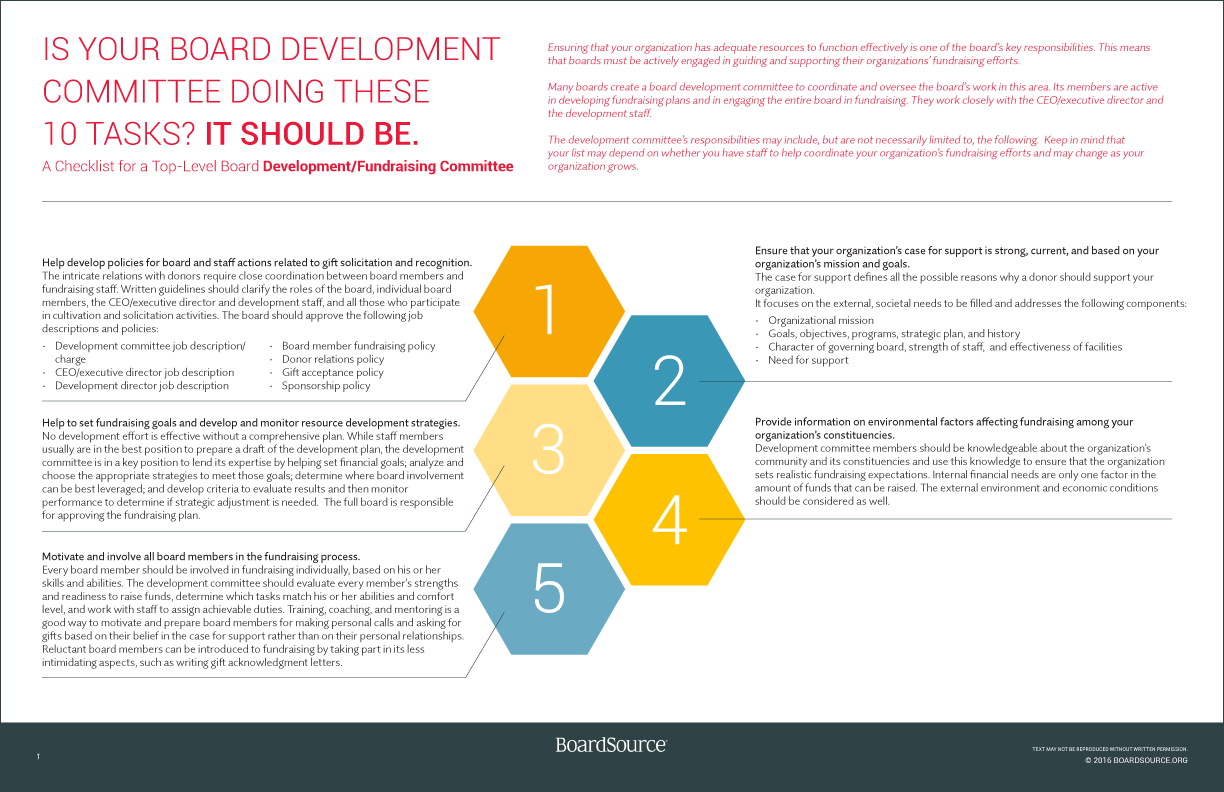 Development Committee Checklist