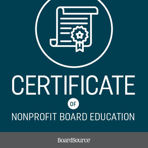 Certificate of Nonprofit Board Education