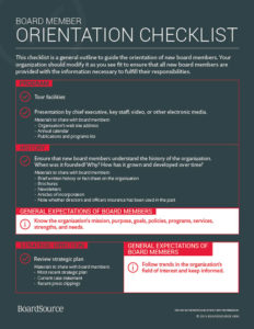 Board Orientation Checklist