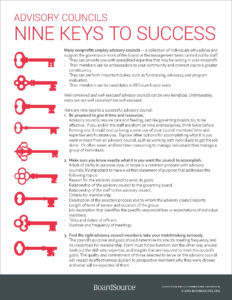 Advisory Councils: Nine Keys to Success