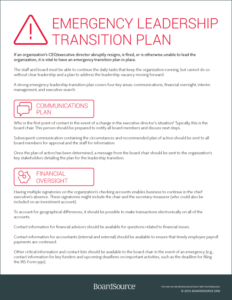 Emergency Leadership Transition Plan