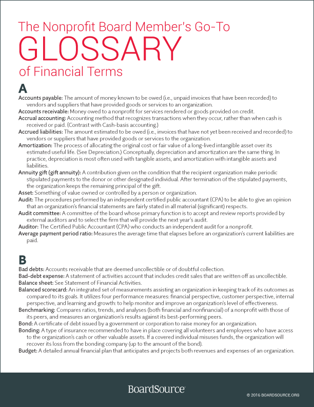 Financial Terms Glossary