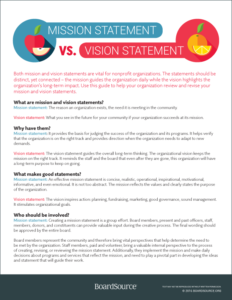 mission statements verus vision statements boardsource