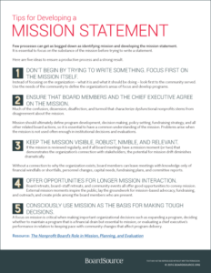 Developing Or Revising Your Mission Statement