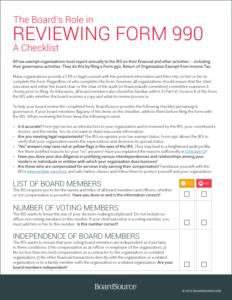 Form 990 Checklist