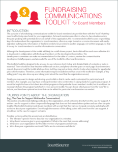 Fundraising Communications Toolkit for Nonprofit Board Members