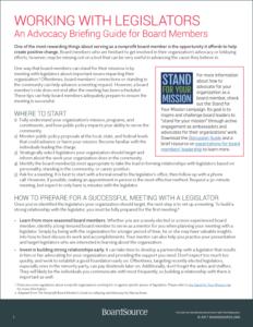 Legislators Advocacy Guide