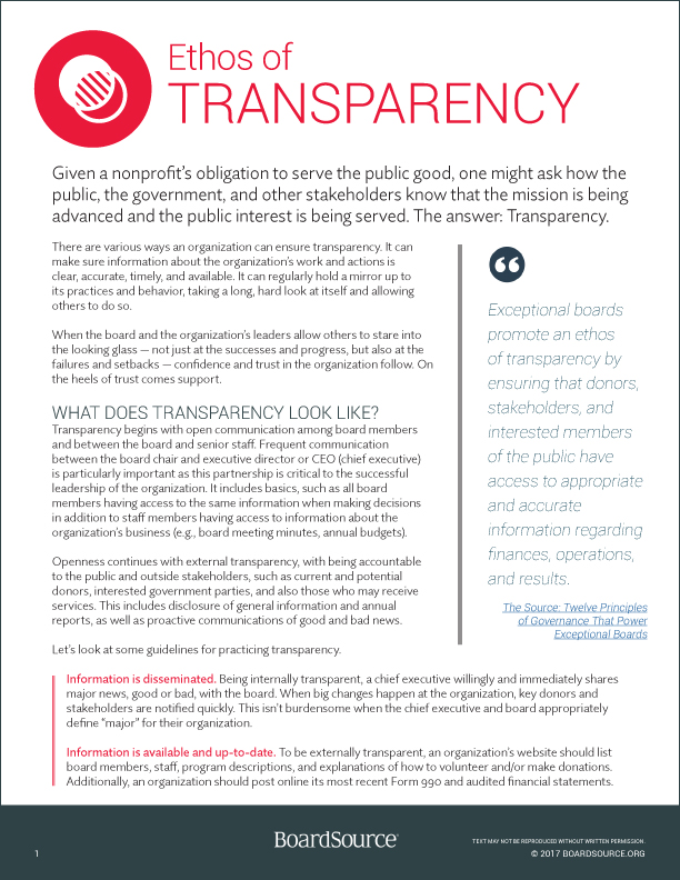 Ethos of Transparency