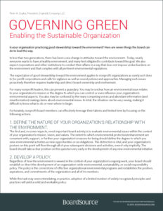 Governing Green: driving your organization's commitment to environmental sustainability