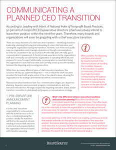 Communicating a Planned CEO Transition