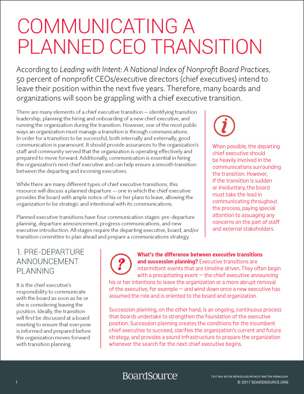 CEO Transition Communications Cover