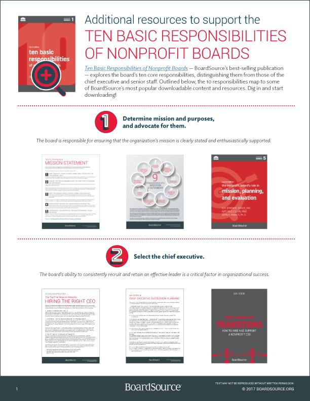 nonprofit chairman of the board job description