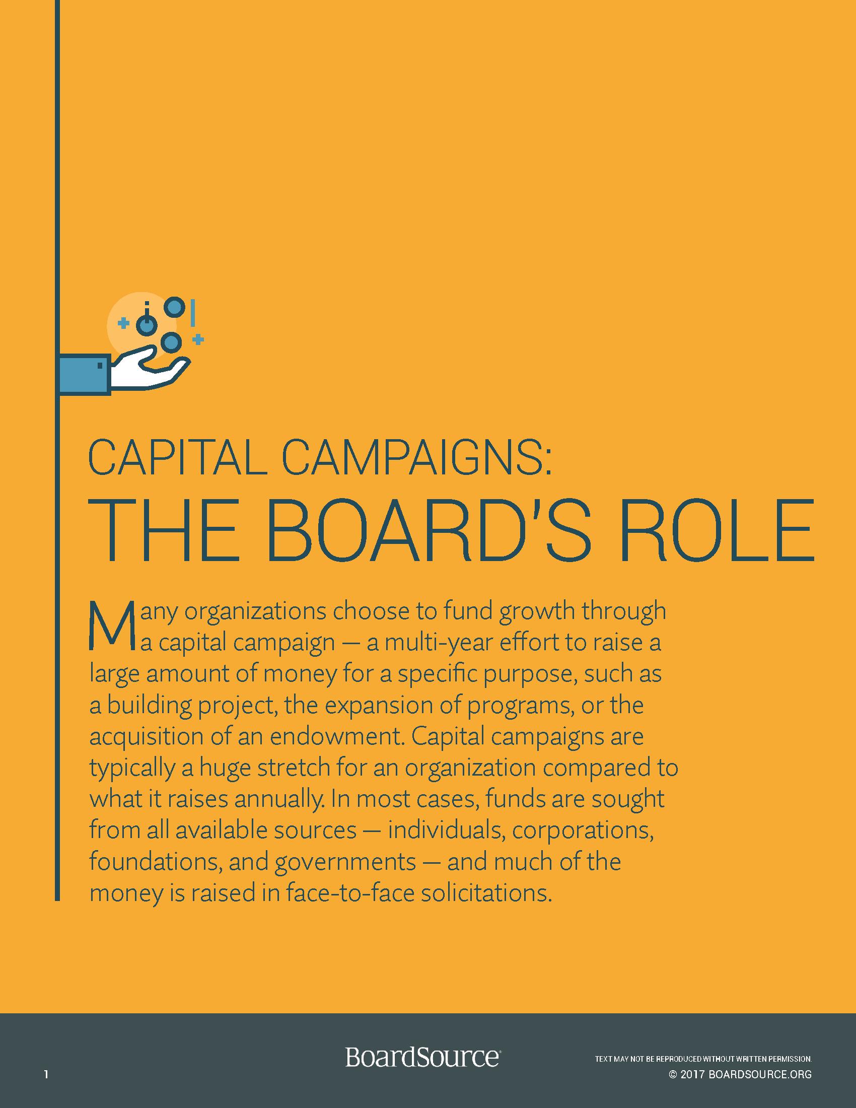 Capital Campaigns - The Board's Role