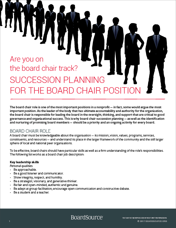 Orientation And Education BoardSource - Board succession planning template
