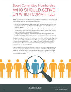 Nonprofit Board Committee Membership: Who Should Serve on Which Committee?
