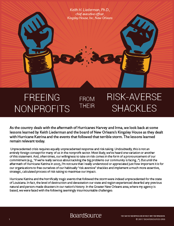 Freeing Nonprofits From their Risk Averse Shackles
