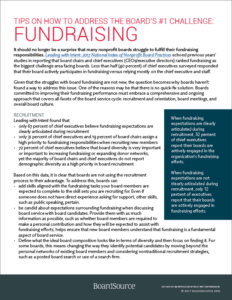 Tips on How to Address The Board's #1 Challenge: Fundraising