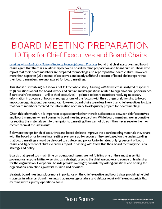 Board Meeting Preparation: 10 Tips for Chief Executives and Board Chairs