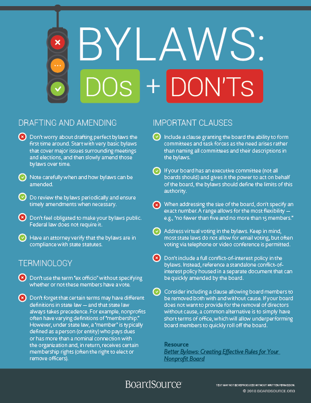 Bylaws: DO's & DONT's