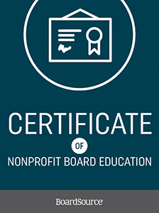 Certificate of Nonprofit Board Education