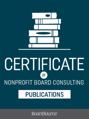 Certificate of Nonprofit Board Consulting Publications